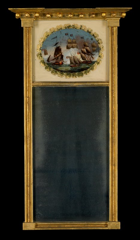 mirror with gilding around geometric frame; sea battle with at least 5 ships painted on reverse of glass above mirror
