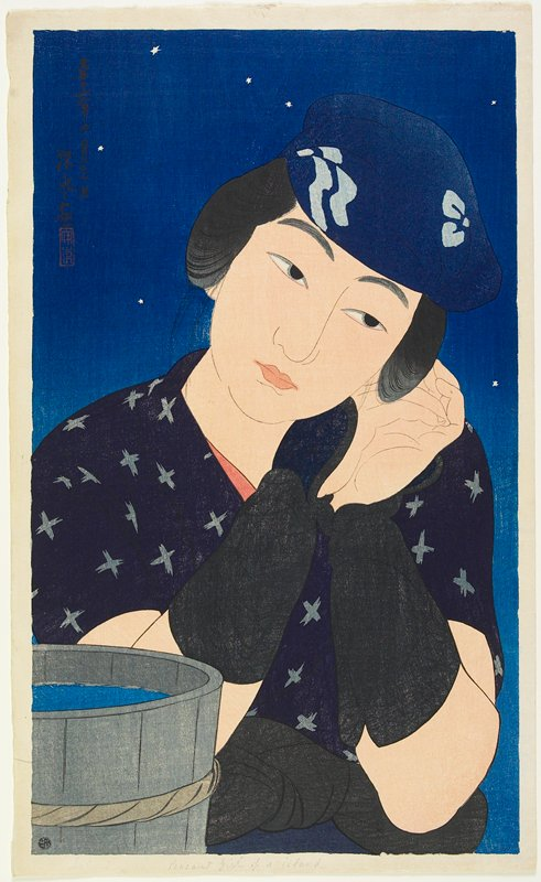 portrait; head and torso of a woman with her hands against her PL cheek, wearing a dark blue garment with light blue x's and a dark blue hat; dark sky with stars; wooden bucket LLC