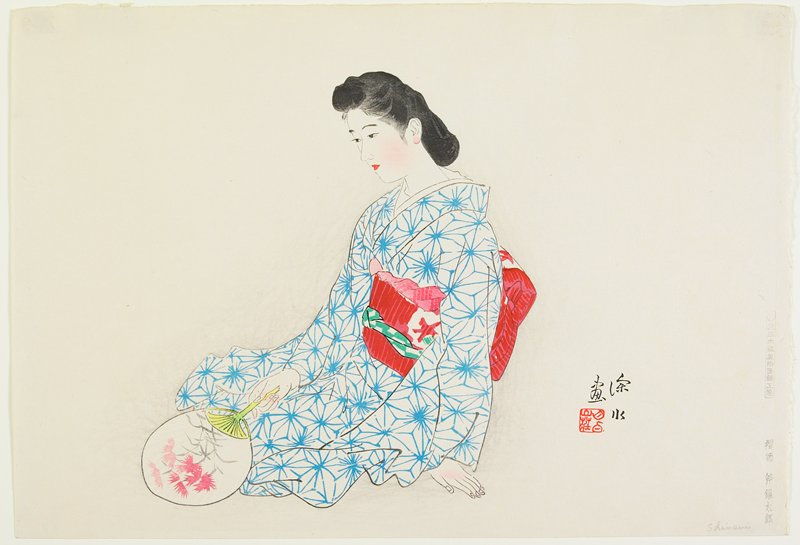 portrait; seated woman wearing a blue and white kimono and a red and white obi, holding a fan with red flowers in her PR hand