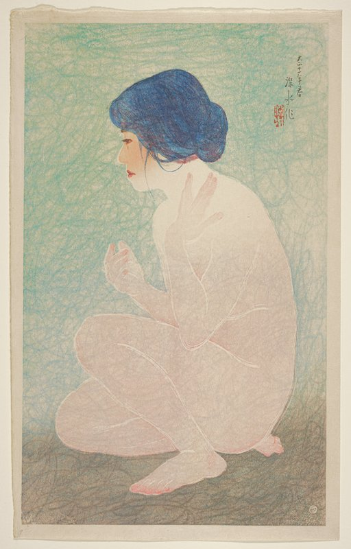 portrait of a crouching nude woman with her PL hand on her collarbone; blue and grey ground