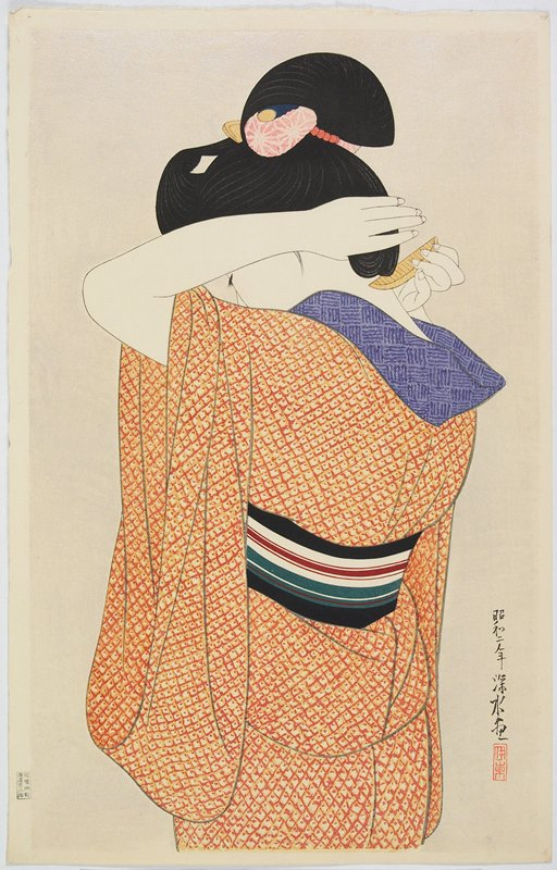 portrait (bijin-ga), mica background; standing woman seen from back, adjusting the back of her hair with a comb; orange and yellow patterned kimono; black, white, green and maroon striped obi