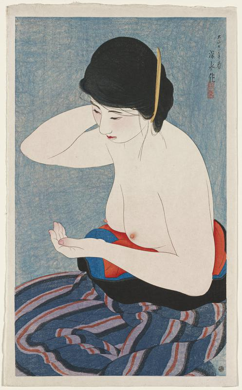 portrait; seated bare-chested woman with blue, purple and orange striped kimono pushed below her breasts; PR hand behind head; blue ground