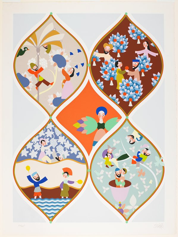 stylized figures; flat bright color planes; decorative patterns; 4 decorative lobes encircling men and women in gardens and by water; central figure with bird wing-like arms