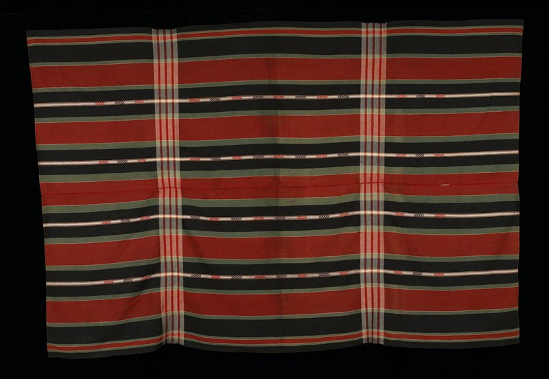 Two panels sewn together - stripes black, green, white, brown with two chevron stripes.