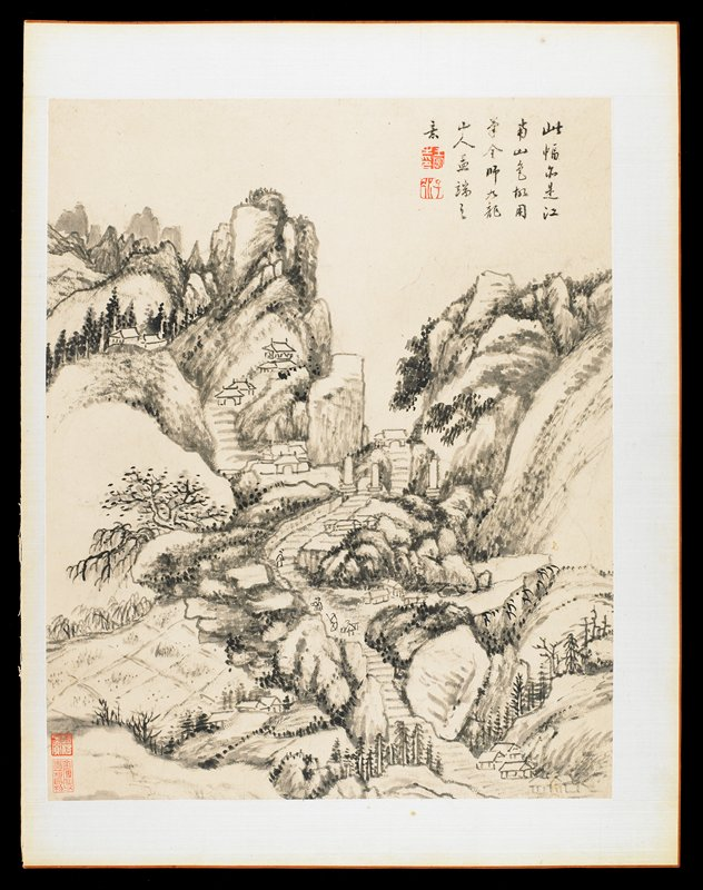 field in LLC; buildings nestled in rocky mountainous landscape; stepped path through mountains vertically through center of image; from an album of 12 drawings in ink and wash; short inscription and stamps in red