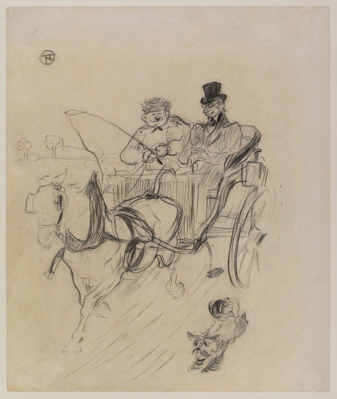 Man wearing a top hat and glasses and a man with a whip seated in a carriage drawn by a horse wearing blinders; fluffy dog running next to horse