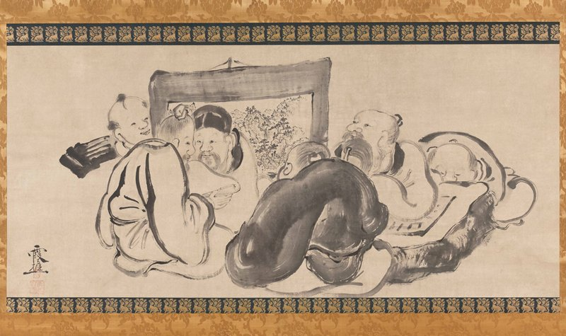 ink drawing of six men seated close together; some are looking at a short, suspended hanging scroll near center; two others are sharing a hand scroll at L; one figure is peering from behind the scroll at far L; ivory rolle rends