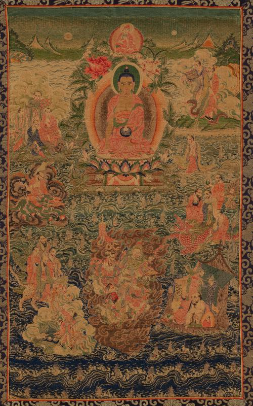 Brocaded panel of polychrome design with small groups of figures around a central Buddha; mountains in background. Framed by dark purple and gold brocade, possibly Japanese. Note similarity to Tibetan painting; Tibetan-type altar hanging probably executed by Chinese artisans. Former Classification: Textiles - Tapestry