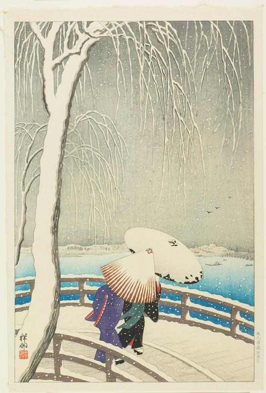 Two women with an umbrella cross a bridge over the river, Sumidagawa, in the heavy snowfall. This print illustrates Yanagibashi ('the Willow bridge') over the river Kanda near its convergence with the Sumida. Independent landscape scenes are only a small group in Koson's work. This image, in its great simplicity and effective use of only a few colours, is one of his most beautiful designs. (Newland 2010)