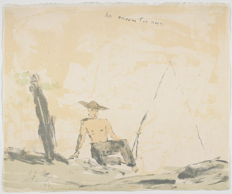 from a suite of 13 color lithographs housed in a beige linen portfolio box, titled by hand individually by the artist, with an acrylic sumi ink wash; man with baggy pants dragging a large log-like object; round brimmed hat