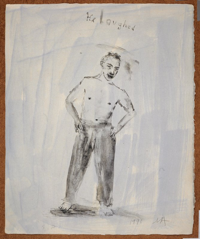 """Full length portrait of a man in long pants, naked from the waist up; he stands facing the viewer with his hands on his hips; the words """"He laughed"""" inscribed, UC; washy blue background"""
