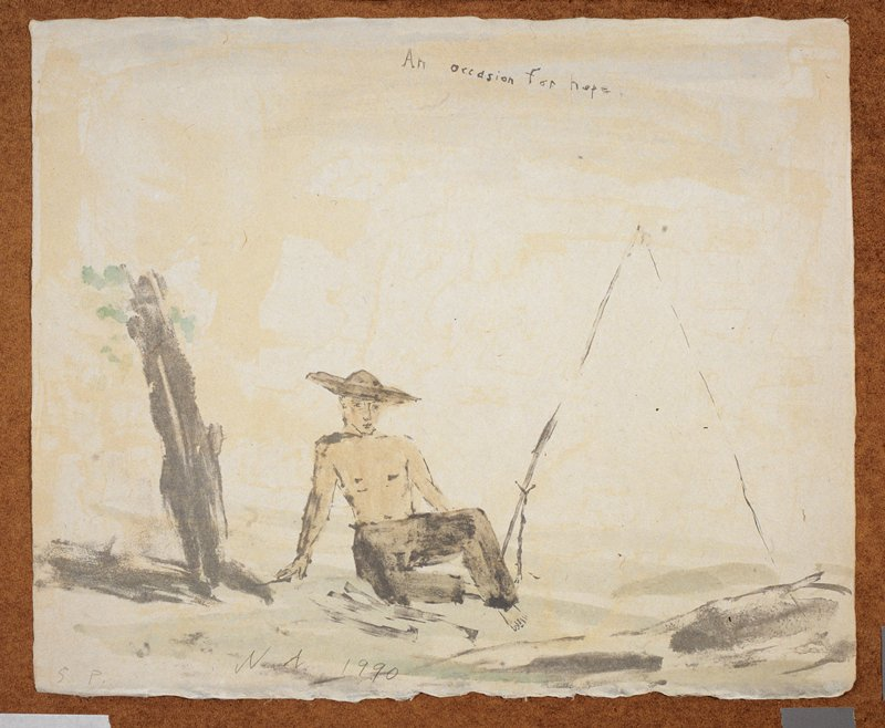 """Man in a wide rimmed hat and long dark pants; he sits in the foreground; A large tripod-like object on his L; a barren tree on his R; the words """"An Occasion for Hope."""", inscribed, UC; predominant colors: brown, green and yellow"""