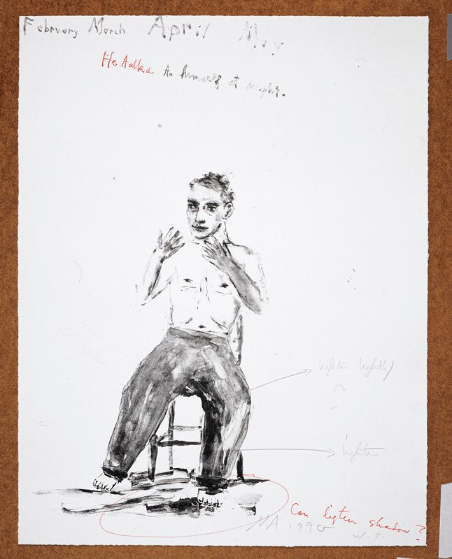 """Man in the middleground naked from the waist up; he sits in a chair facing forward and gestures with his hands; the words """"February March April May/He talks to himself at night"""" inscribed, UC"""