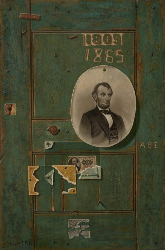 "Still life.Trompe l'oeil door, with ephemera tacked to the green door, including image of Abraham Lincoln, money, clippings, and labels. '1809', '1865' and 'ABE' are ""carved"" into the door."