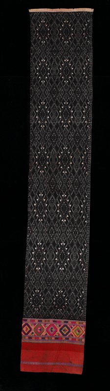 """Black patterning on ecru; 12.5"""" at end; red with section multicolored motifs."""