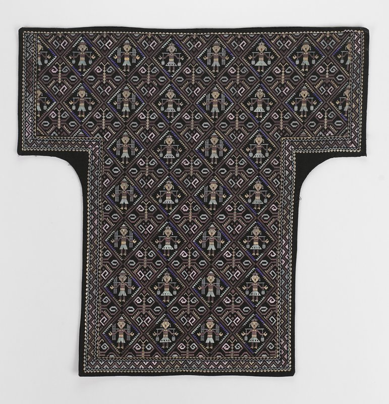 black background with figurres in diamond-shaped medallions; embroidered in purple, blue, pink
