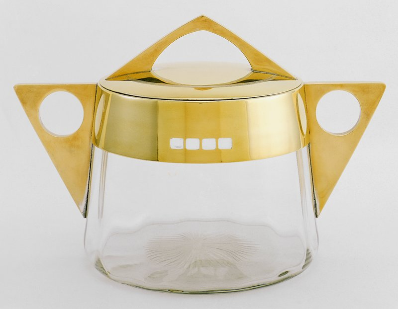 cut glass bowl with brass lid and handles