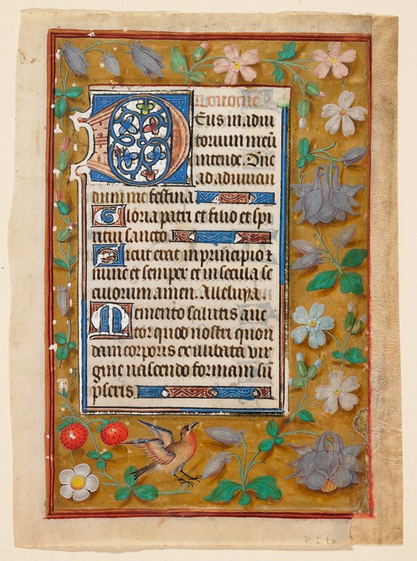 Double-sided; illumination on recto only; borders on all sides, top and one side narrower; solid gold (not leaf) background strewn with flowers and shadows: roses, rosebuds, columbine, iris, paquerettes, forget-me-nots, bluebells, and strawberries, and a bird; Text portion outlined with blue and narrow gold leaf, large initials foliated in red, blue and gold leaf, lettering in black and red.