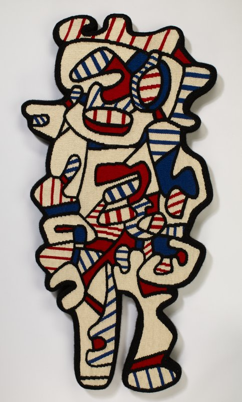 abstracted figural design, edged in black; black-bordered shapes in blue and cream, and red and cream stripes, and in solid blue, red, and cream; weaving mounted on a shaped board, edged and backed with black