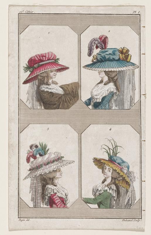 3/4 view of four women in four elaborate hats