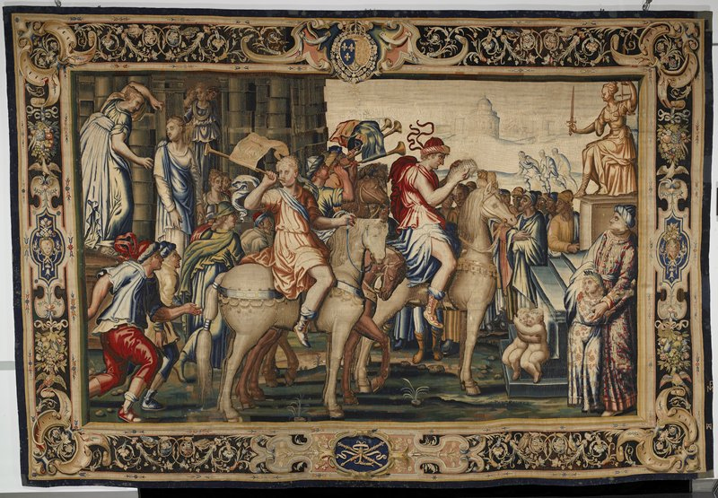 a piece form the tapestry cycle woven for Marie de' Medici, The Stories of Queen Artemisia, based on an epic account by Nicolas Houel; woven in the Faubourg Saint-Marcel Manufactory of Mark de Comans and François de la Planche, between 1611 nd 1627; warp undyed wool, 5½-7 ends per cm., weft dyed wool and silk, 28-40 ends per cm.