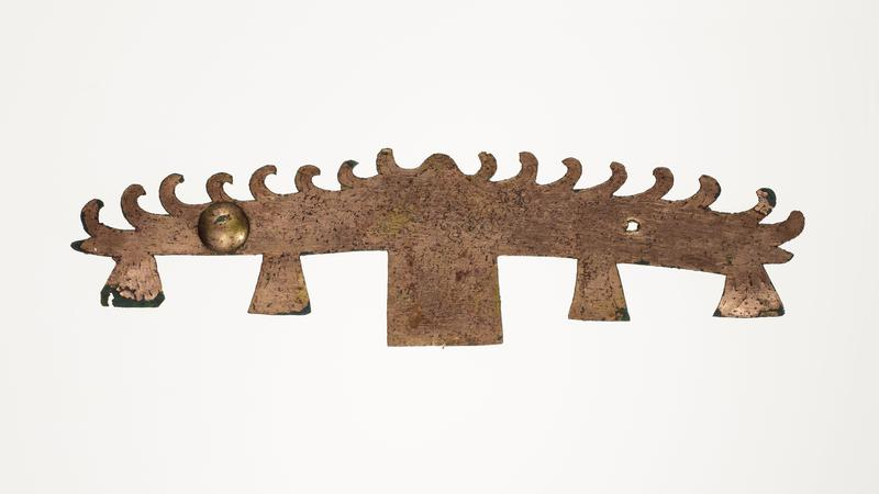 architectural crossbeam incised with dragon; five downward-extending elements; wave-like pattern on top; mounted on black cloth-covered board with L2003.116.5.1-5, .7