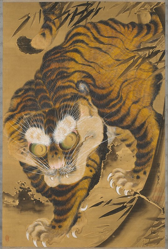 tiger with large eyes and pronounced brows and whiskers; standing with lower body in LL and back of body in UR; claws outstretched; grey/blue border with bamboo pattern