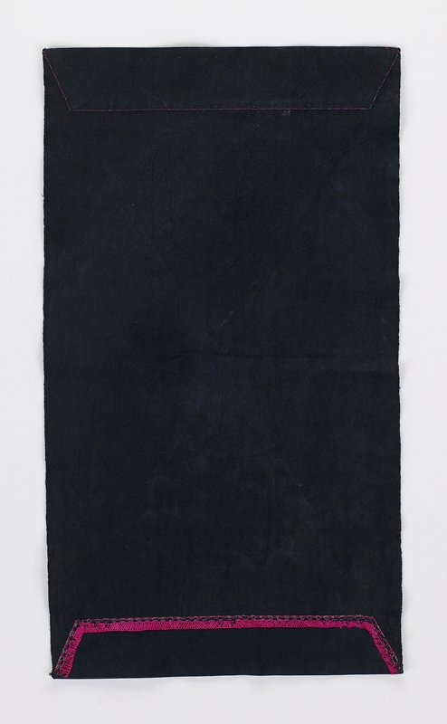 dark indigo cloth with ends embroidered in pinks and purple