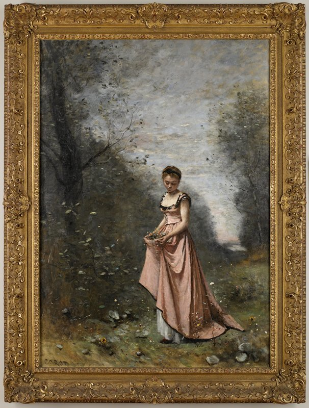 "Girl with flowers in landscape Youth, adolescence, ""Iuventus"""