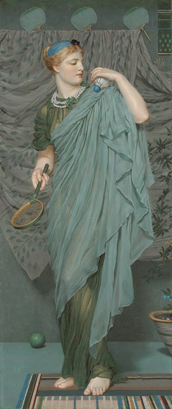 standing woman dressed in green and turquoise robes, holding a badminton racket in her PR hand and a shuttlecock at her PL shoulder