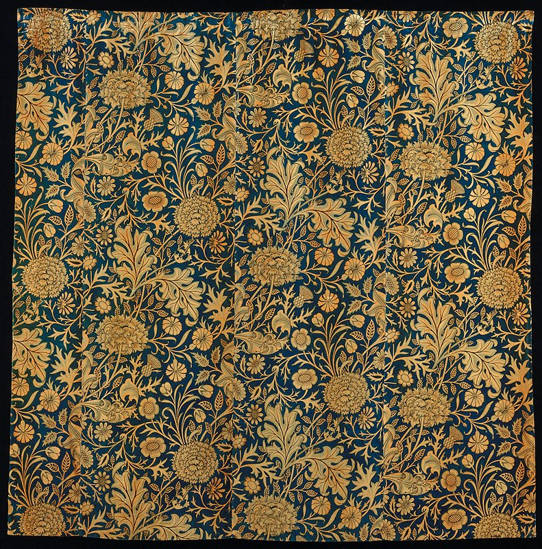 Wm. Morris mfg.; one of a pair of hand block printed velveteen curtain panels (with 85.52.2); stored in box