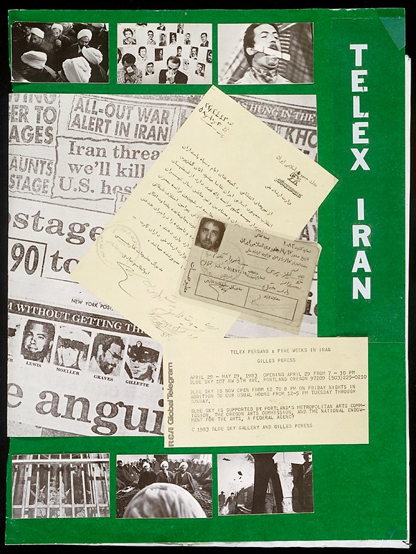 """maquette, intact; archival material for the production of """"Telex: Iran""""; (archival materials include three book maquettes--one of which has 53 cards with mounted photostats--; seven preliminary versions of the cover; one back cover; and seven maquette material pieces)"""
