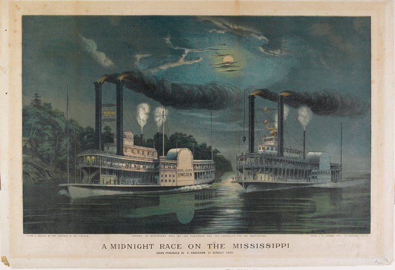 "two steamships on a river; nightscape with moon and clouds; shore with trees at L; one boat labeled ""Lincoln,"" one labeled ""Davies"""