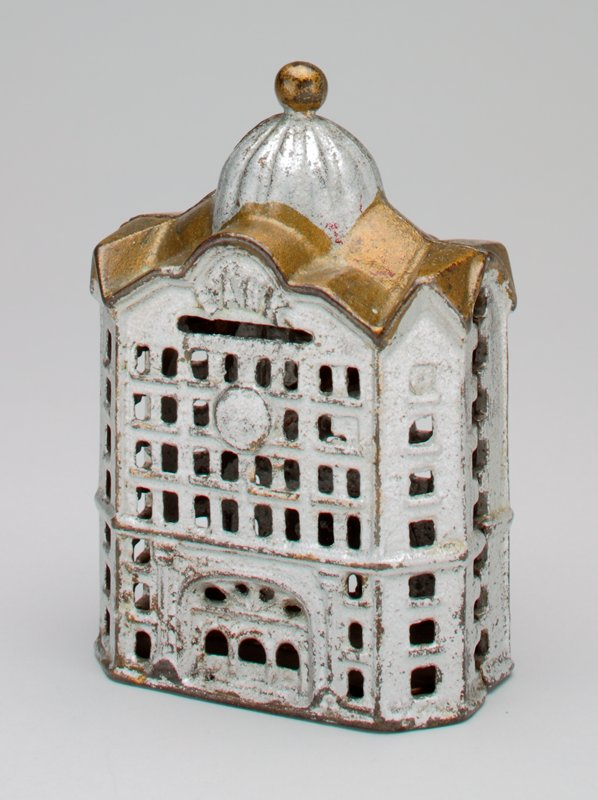 silver and gold domed building; medium