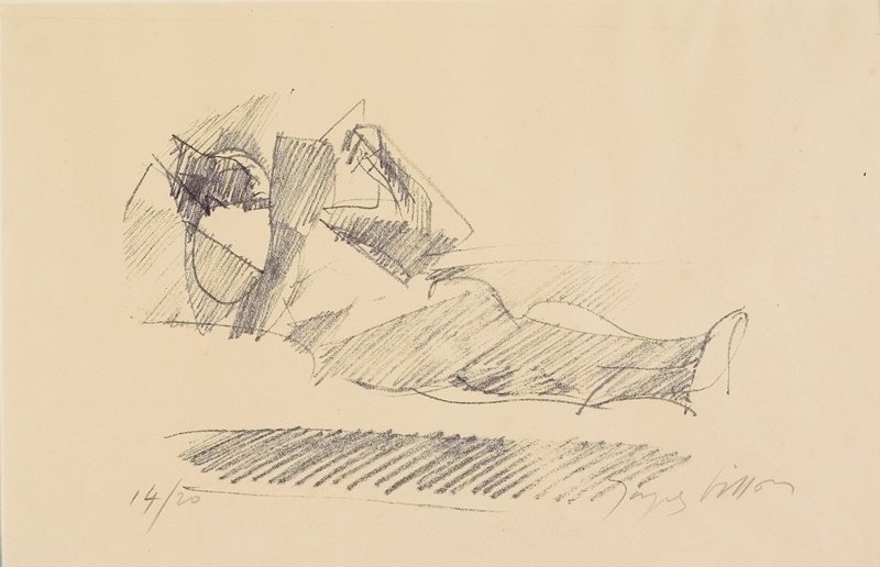 cubist image of figure lying down, holding a book
