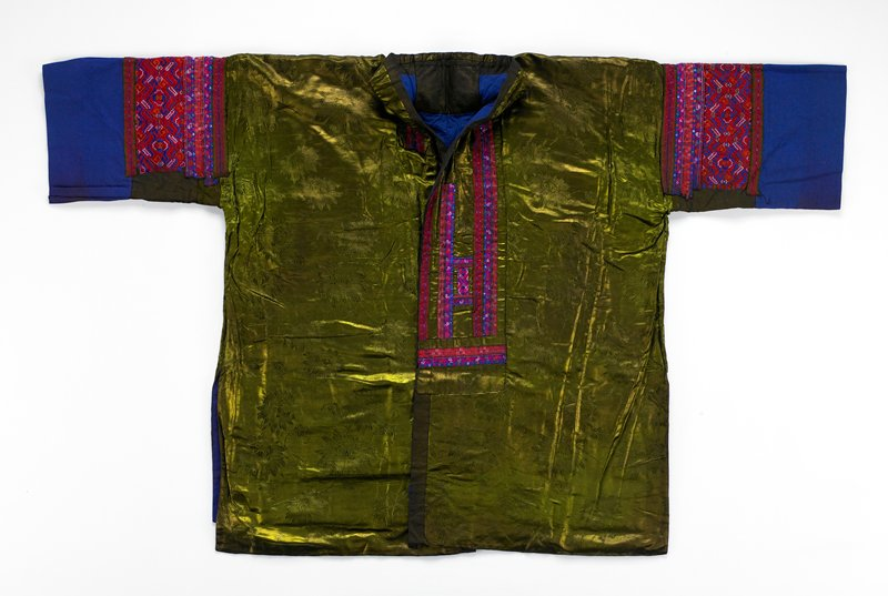 blue lining and sleeves; green silk front panels; predominately red and blue embroidered band around neck, on sleeves and on back; central square embroidered panel on back