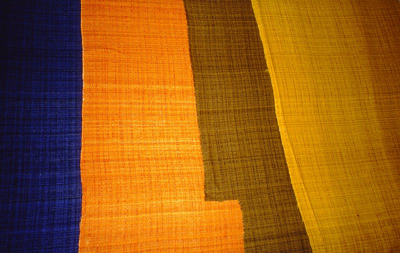 Variation on a plain weave:some thin and thick warp. Over dyed fabric. Cobalt Blue