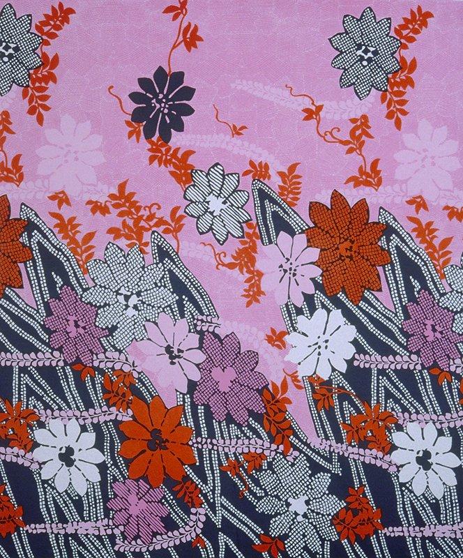Knit border print;larger stylized flowers. Heavier along bottom edge. Knit Border Print.Large sylized flowers, heavier along bottom edge. (red/pink)