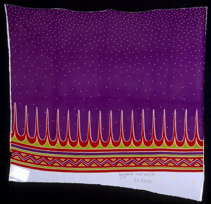 Velour jersey fashion print with striped border print, zig-zag print along bottom edge. Jersey fashion print. Printed with striped purple border print, zig-zag red print along bottom edge. (purple/red)