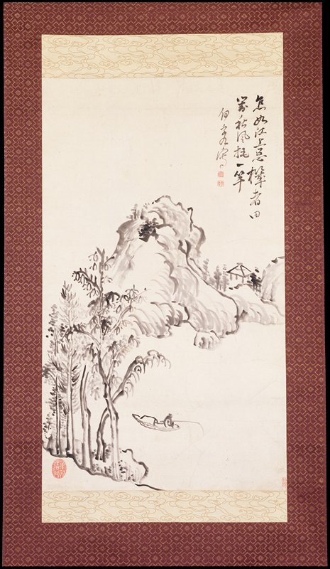 a small mountain landscape containing spindly trees, a fisherman in a boat and an empty hut