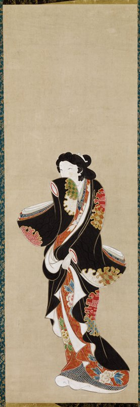 "Single female figure with her sleeve-covered hand covering the lower part of her face. She wears multiple robes: outermost is predominately black wih color snowflake motifs, while an exposed red undergarment features white and pink peonies and green peony leaves. Elaborate mounting features kimono brocades for upper and lower portions and include embroidered Chinese characters for ""Spring"" and ""Deepen"". Ichimonji strips above and below painting are made of black paper painted with gold designs."