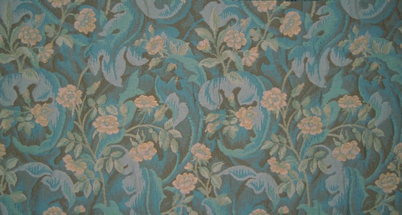 "Double cloth floral tapestry. Vert. Rpt. 27.5""; horiz. Rpt 25.5"" Pastel beige, green & blue on brown field. Bleu Clair"
