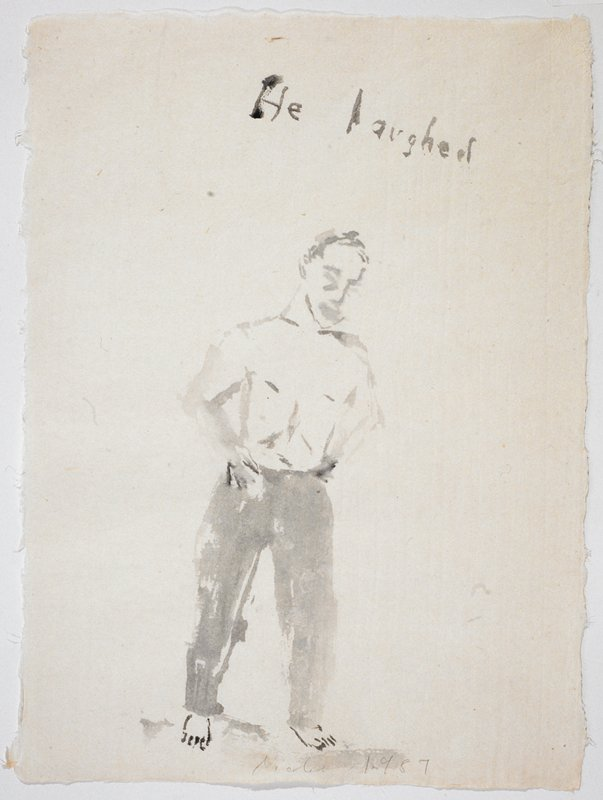 """Full length portrait of a man in long pants, naked from the waist up; he stands facing the viewer with his hands on his hips; the words """"He Laughed"""" scrawled in UR quadrant"""