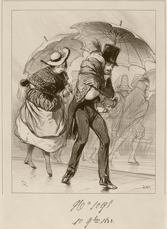 couple huddled under umbrellas; man wears top hat and tailcoat and carries a bundled child; woman wears shawl, muff and hat; other figures in background