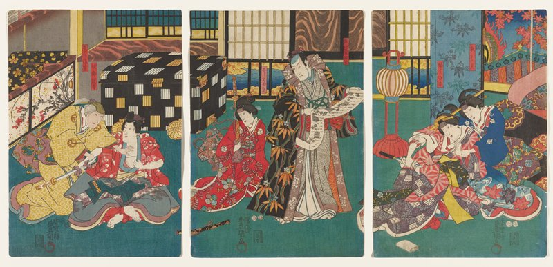 vertical ōban triptych; seated male figure baring his chest and holding a sword in his PR hand, while an older figure in a yellow patterned kimono puts one hand on the young man's chest and another hand on the man's wrist holding the sword; standing man wearing a kimono with a black ground and white and orange flowers holding a text scroll, with a seated woman in a red kimono holding a sword in an orange scabbard, at center; two seated women at right, with front woman in red kimono with pink lines holding a dagger in her PR hand; woman seated behind woman with dagger holds wrist and arm of frontmost woman and wears a blue kimono with swirling clouds or water and purple, blue and red flowers; sumptuous interior with sliding door and windows and black lacquer chest; pairs of round cartouches, red circular seals and lines of text at bottom of each panel; characters' names written aside each figure in rectangular cartouches: man on right: {Higashiyama Yoshimasa kō}, woman in red (palace attendant): {Koshimoto tama??}, man on left: {Jirōkaja}, old woman: {Sazano ????}