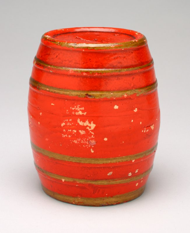 red barrel with gold bands (6); coin slot in top