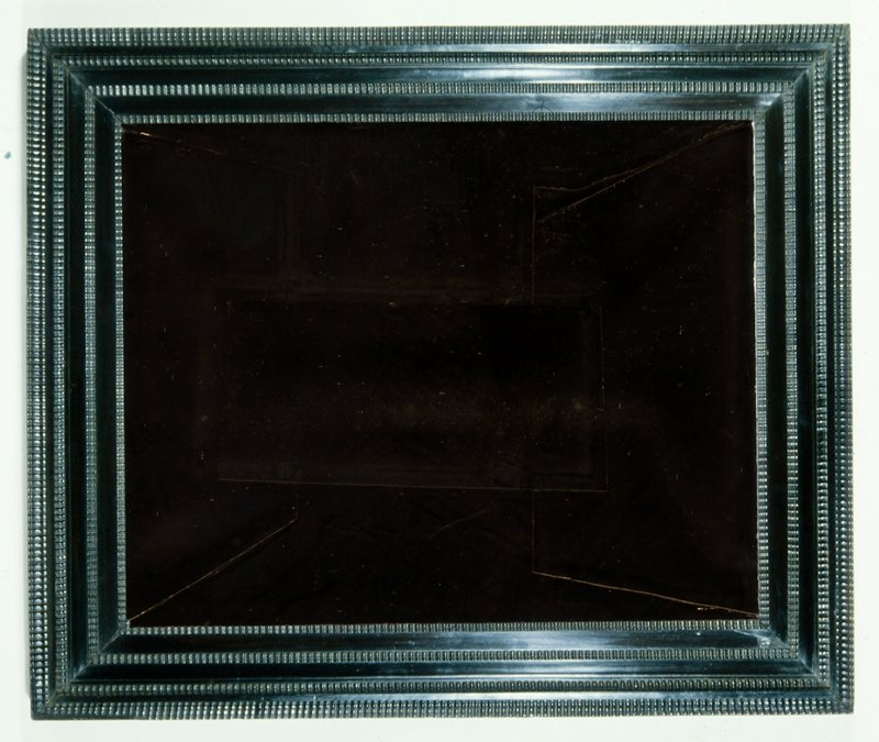"""frame, cabinet type in Indian ebony with veneered ogee and flat panels divided by four bands of ripple moulding on laminated pine carcass; on Pieter Claesz, """"Still Life,"""" 45.10"""