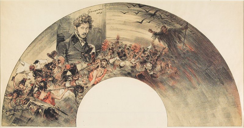 fan print; orange, black and white; portrait of a man with curly hair, UL; revellers, a jester, soldiers at L; cloaked figure with staff and flying birds, UR