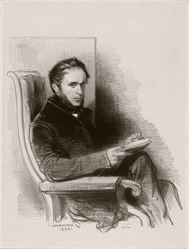 portrait of a man seated in an armchair; man wears dark coat and has thin, dark hair with long sideburns; man holds pencils and paper
