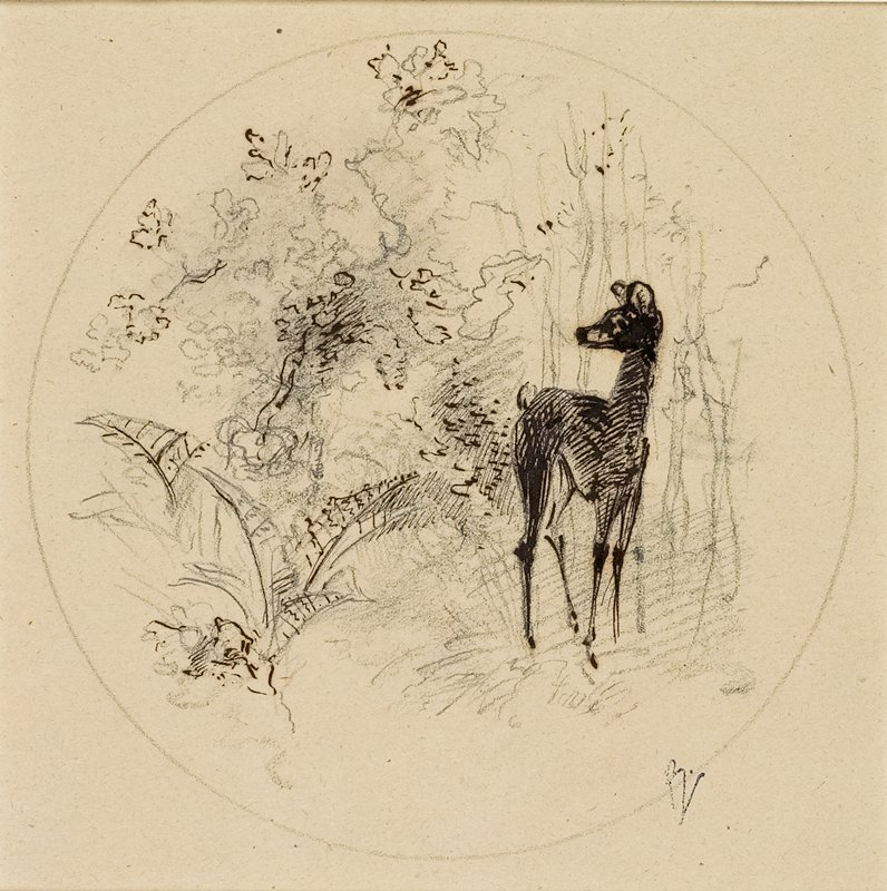 drawing inside a pencil-drawn circle; deer at right with trees and foliage; tan paper